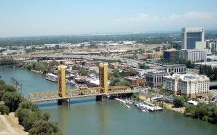 Republic of California Aerial View of Sacramento the Tower Bridge