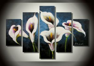 The White House handmade Large-size Calla Lily Flower Oil Painting,Abstract