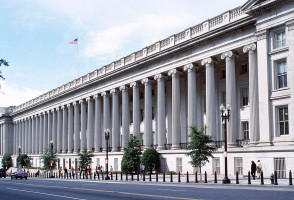 The White House U.S. Treasury Building colonnade