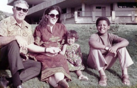 From left, Stanley Dunham, Stanley Ann, Maya and Barack Obama in Hawaii in the early 1970s. Photo courtesy Barack's half sister Maya Soetoro-Ng