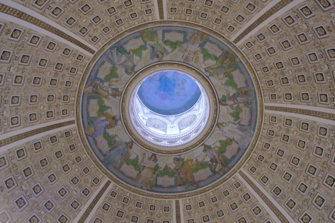 Angels and Heaven looking down upon the earth painting of the dome in the main reading room at the library of congress