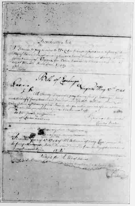 Page 1 American Preservation Society - Bills of Exchange - written and compiled by George Washington