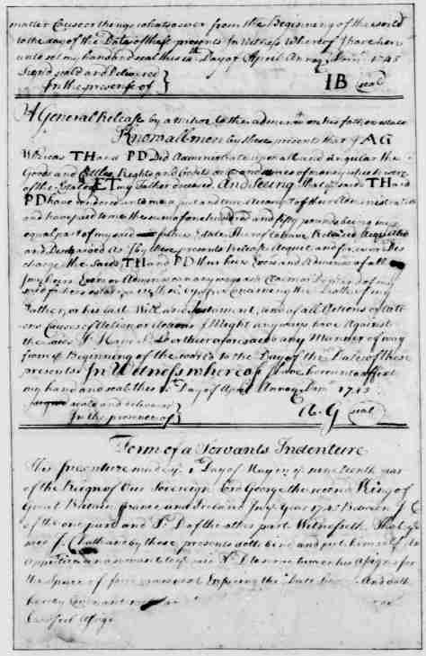 Page 7 American Preservation Society - Form of a Servants Indenture - written and compiled by George Washington