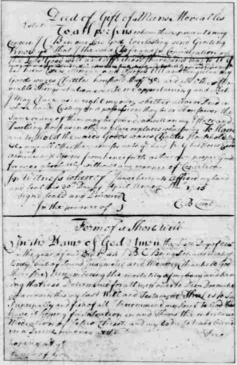 Page 9 American Preservation Society - a Deed of Gift a Form of Short will - written and compiled by George Washington