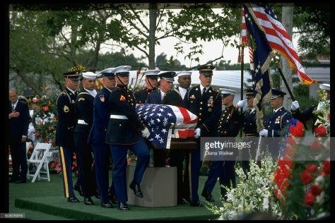 Pres. Richard Nixon's flag-draped coffin during funeral service