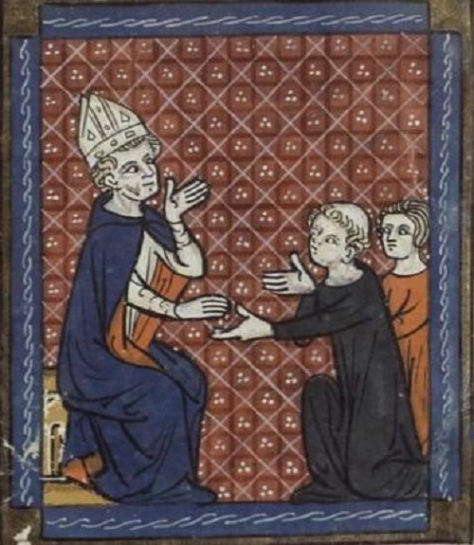 Saint Lupus of Sens Born in Orleans France shown here giving alms—from a 14th-century manuscript Canteburry Tales Died 623