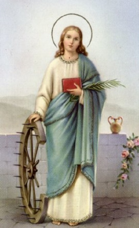 St. Catherine of Alexandria lived around 4th century and was martyred at around age of 18. She appeared in a Theophamy to St. Joan of Arc