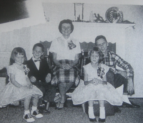 Ted Bundy and his mother with brother and sisters young child teenager