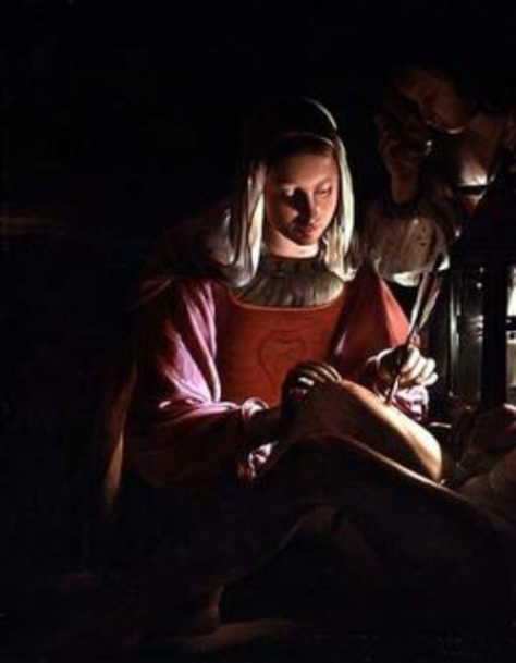 US National Gallery Digital Collection - Oil on Canvas - Illumination Technique Euromasters - Duché de Lorraine France Georges de La Tour 1593 –1652- Santa Irene detalle