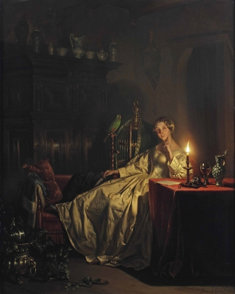 US National Gallery Digital Collection - Oil on Canvas - Illumination Technique Euromasters - Petrus Van Schendel 1806-1870 Belgica - Noche Buena de Luz y Mascota