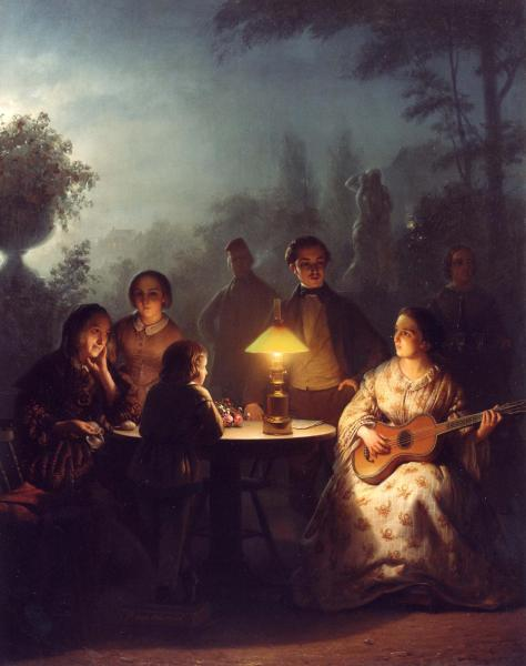 US National Gallery Digital Collection - Oil on Canvas - Illumination Technique Euromasters Petrus Van Schendel 1806-1870 Belgica - Noche Buena de Luz y Musica 1