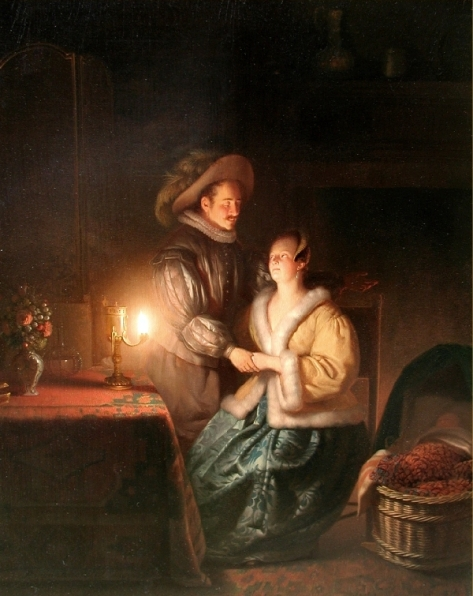 US National Gallery Digital Collection - Oil on Canvas - Illumination Technique Euromasters Petrus Van Schendel 1806-1870 Belgica - Noche Buena de Romanza