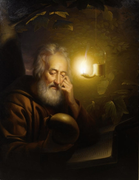 US National Gallery Digital Collection - Oil on Canvas - Illumination Technique Euromasters Petrus Van Schendel 1806-1870 Belgica -Un Hombre con un Melon o un Calabasa
