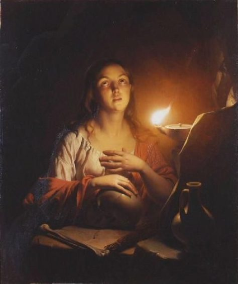 US National Gallery Digital Collection - Oil on Canvas - The Candle and Night Market Art Collection Belgium and Euromasters- Georges de La Tour 1593-1652 La Madeleine à la veilleuse, vers 1640-1645,