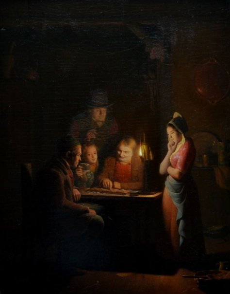 US National Gallery Digital Collection - Oil on Canvas - The Candle and Night Market Art Collection Belgium and Euromasters-Pieter Gerardus Sjamaar Holandés, 1819-1876