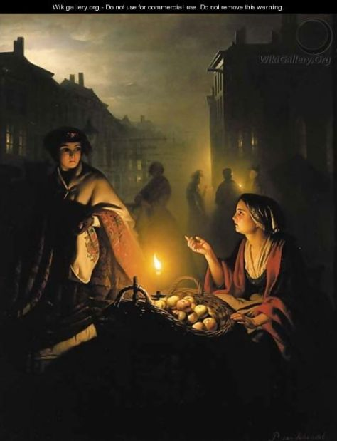 US National Gallery Digital Collection - Oil on Canvas - The Candle and Night Market Art Collection Belgium and Euromasters-Schendel_The-apple-seller
