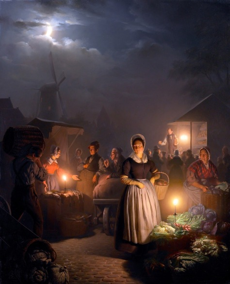 US National Gallery Digital Collection - Oil on Canvas - The Candle and Night Market Art Collection BelgiuPetrus Van Schendel 1806-1870 Belgica - Mercado de las Velas no. 28